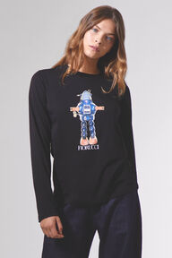 Robot Crew Neck Long Sleeve T-Shirt