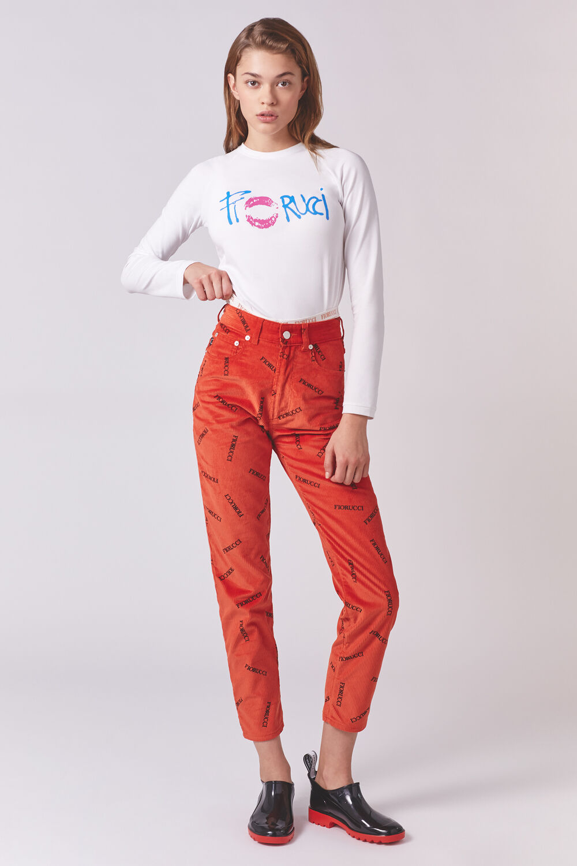 Tara Logo-Printed Corduroy Trousers