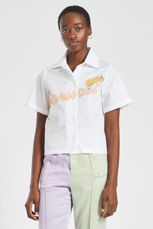 Fiorucci Peach Logo Crop Shirt White