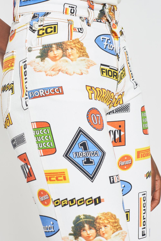 Racing Graphic Print Tara Tapered Jeans White