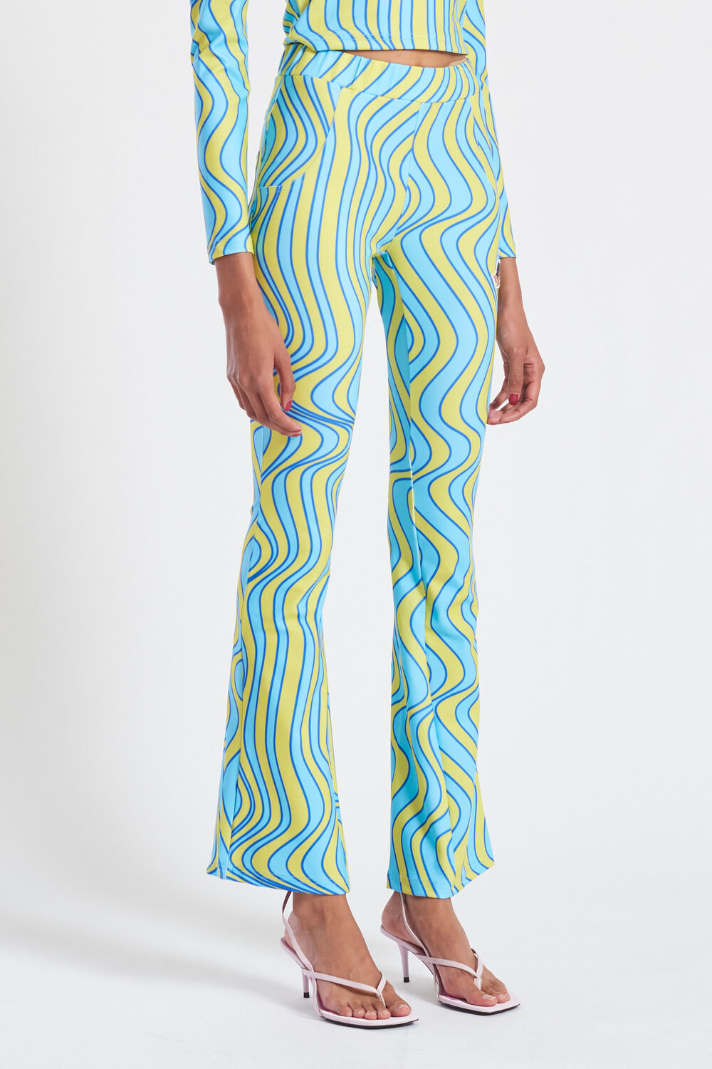 Wave Print Flared Trousers Blue