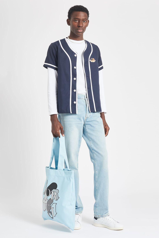 Angel Collarless Baseball Shirt Navy