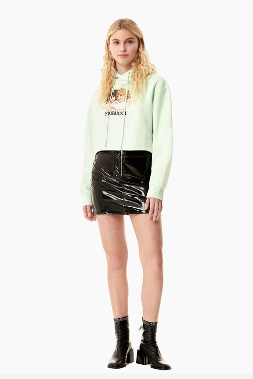 Angels Crop Hoodie Mint Green