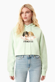 Vintage Angels Crop Hoodie Mint Green