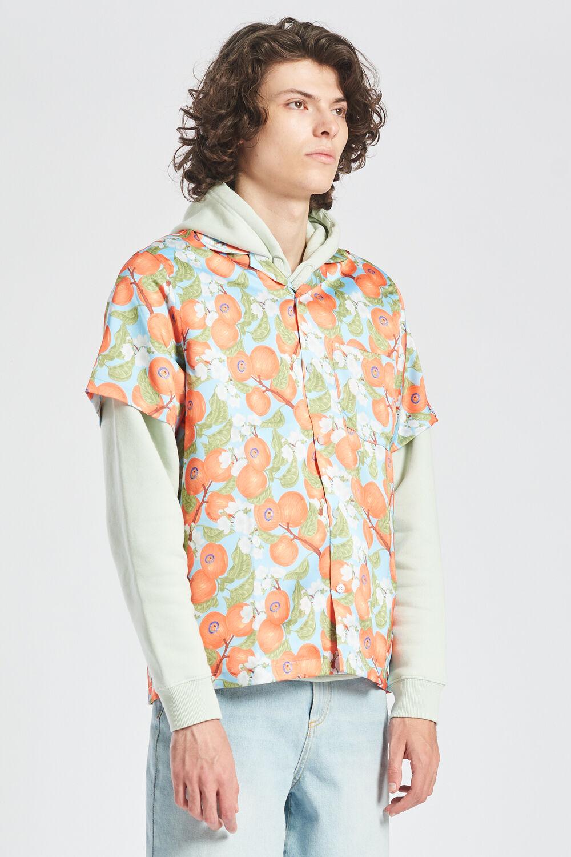 Peaches Print Pastel Short Sleeve Shirt Blue