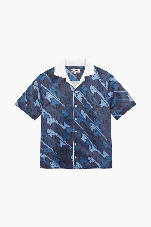 Monogram Logo Print Satin Bowling Shirt Dark Blue