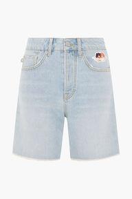 Icon Angels Cut Off Denim Shorts Blue