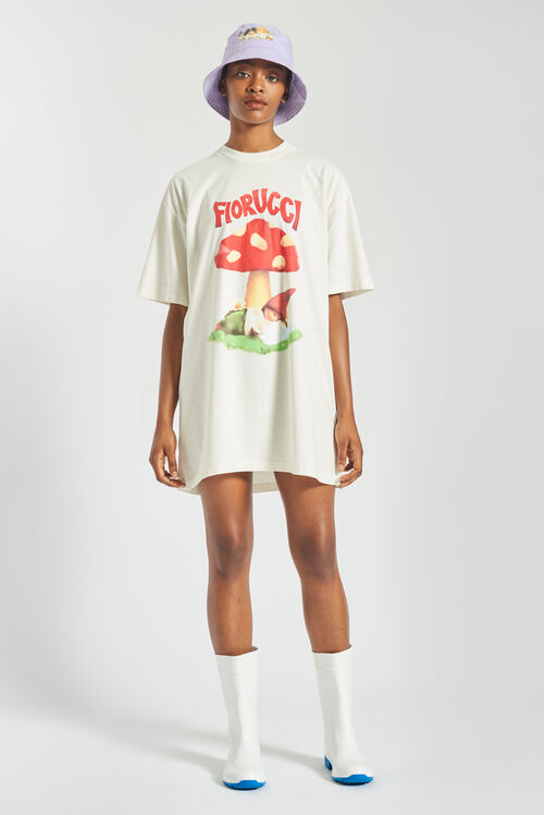 Woodland Mushroom T-Shirt Dress Off White