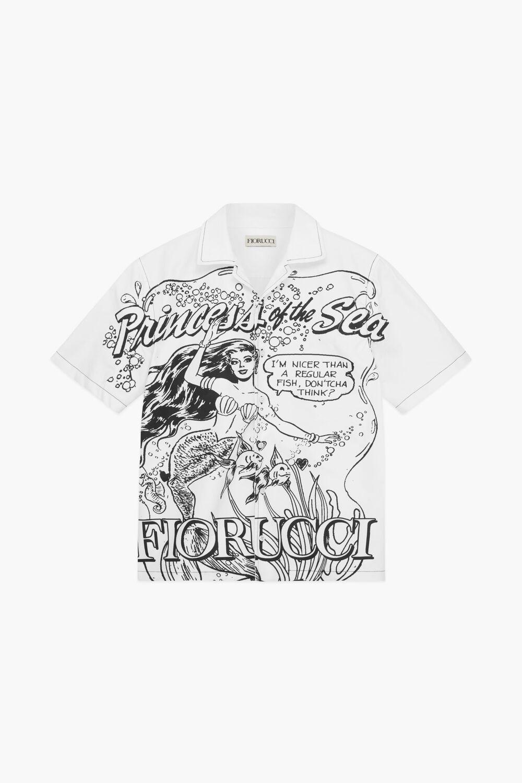 Princess Of The Sea Bowling Shirt White