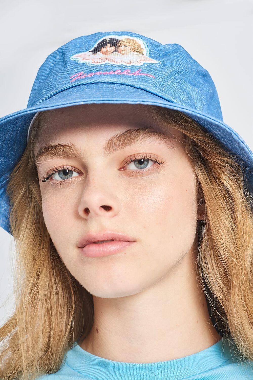 Angels Acid Wash Denim Bucket Hat Blue