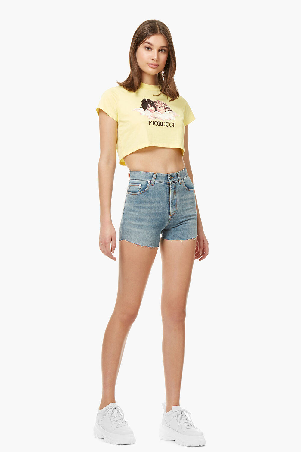 Lemon Angel Patch Denim Shorts