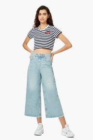 Stripe Cherry Crop T-Shirt Blue