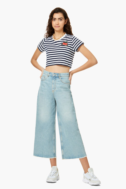 Stripe Cherry Crop T-Shirt Blue