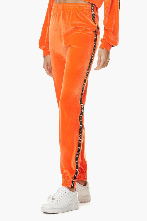 Neon Velour Joggers Orange