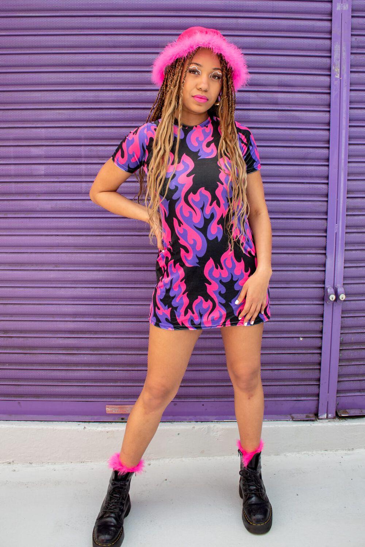 Tara Khorzad Flame T-Shirt Dress Pink