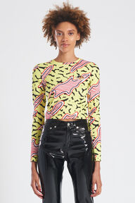 Memphis Print Angels Patch Long Sleeve Top Yellow