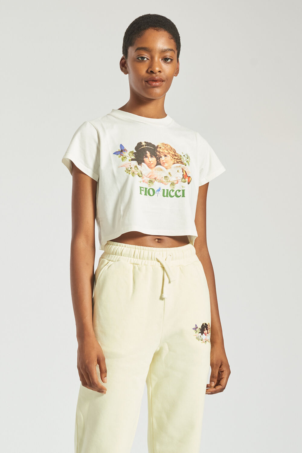 Woodland Angels Crop T-Shirt Off White