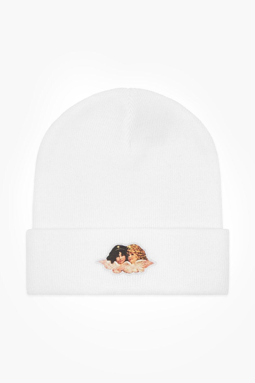 Angel Patch Beanie Hat White