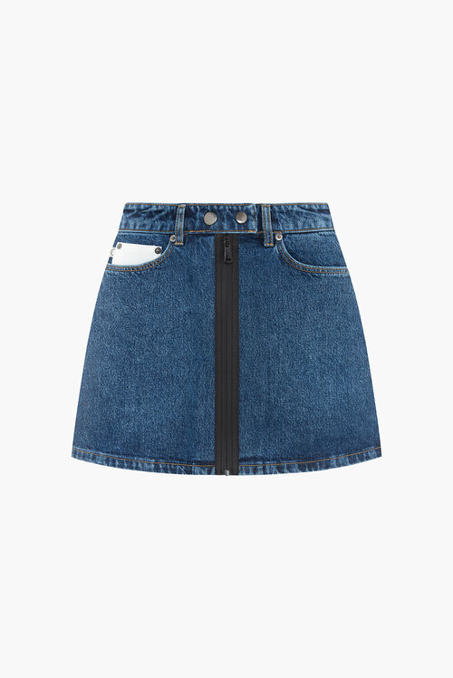 Lily Zip Denim Skirt Blue