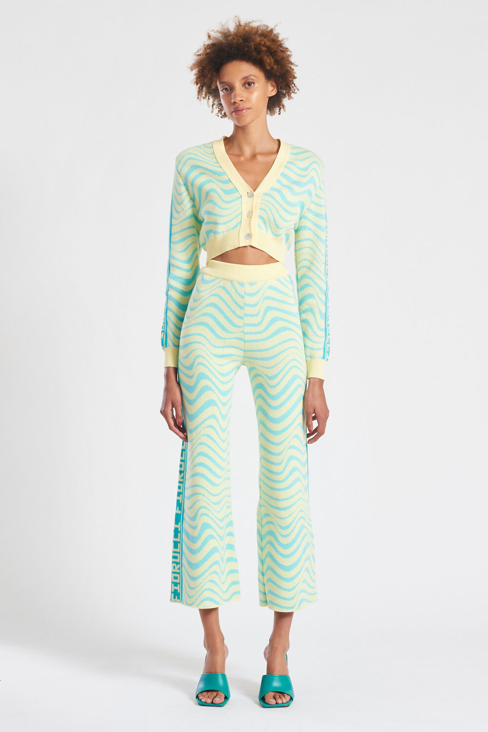 Knit Wave Crop Cardigan Turquoise