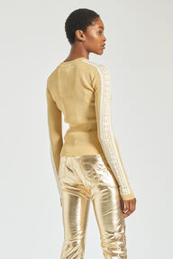 Rib Logo Knit Sweater Gold