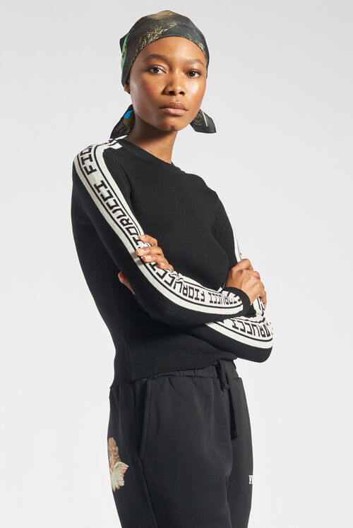 Rib Logo Tape Knit Sweater Black