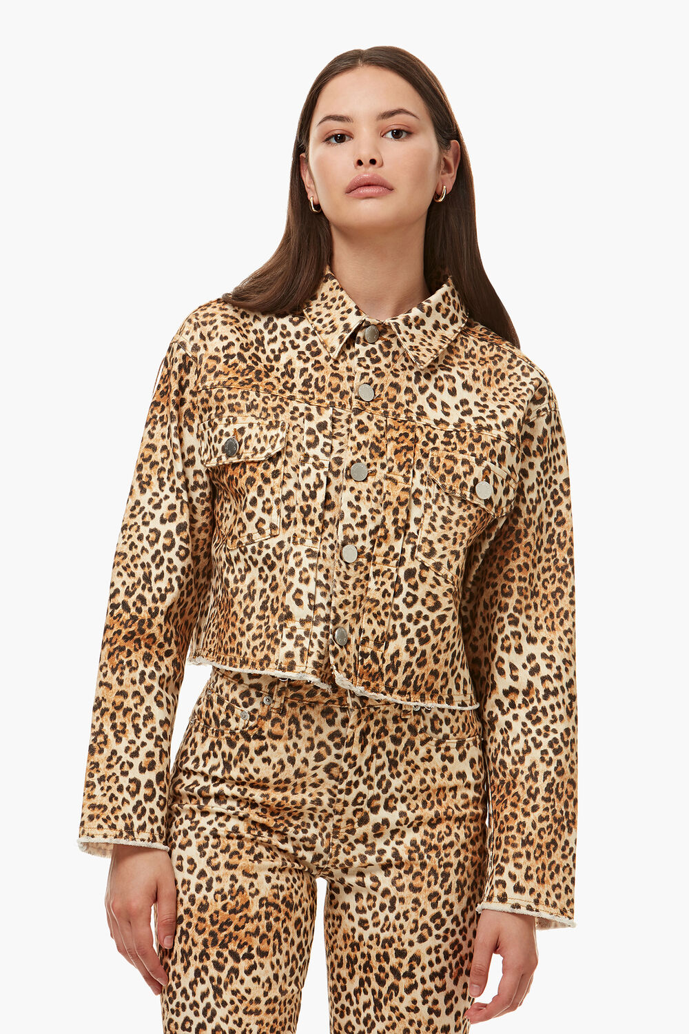Berty Denim Jacket Leopard Print