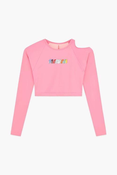 Mono Logo Long Sleeve Cut Away Top Pink