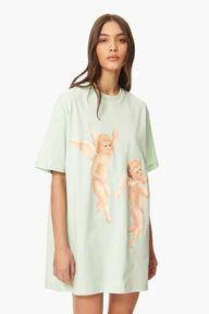 Flying Cherub T-Shirt Dress Green
