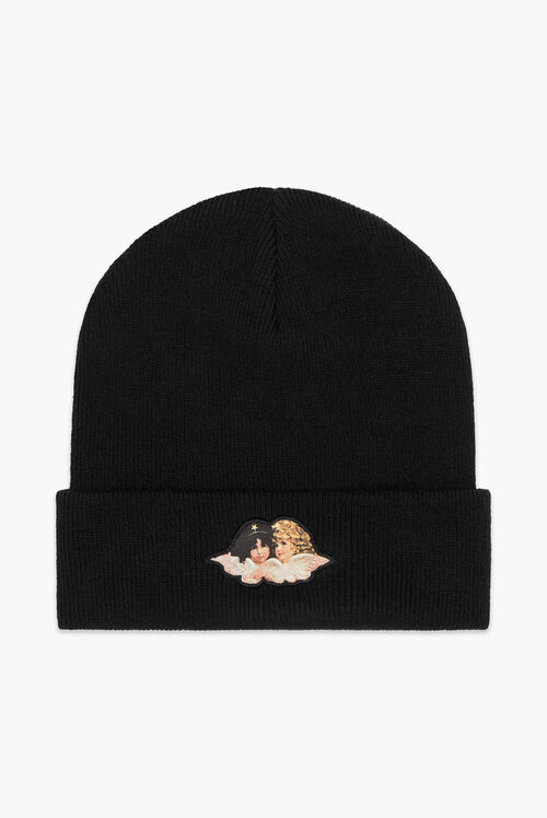 Angels Patch Beanie Hat Black
