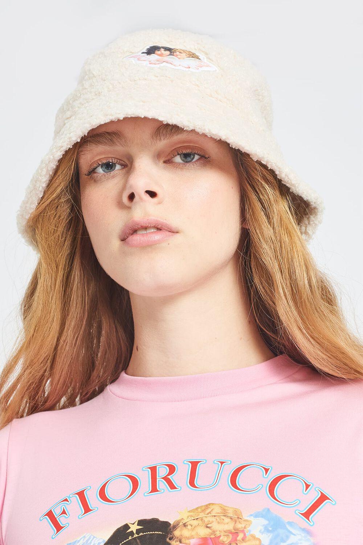 Angels Shearling Bucket Hat Cream