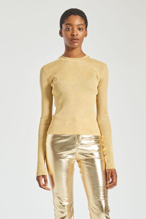 Rib Logo Knit Sweater Gold