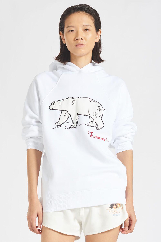 Embroidered Polar Bear Logo Hoodie White