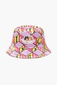 Cubic Print Angels Bucket Hat Pink
