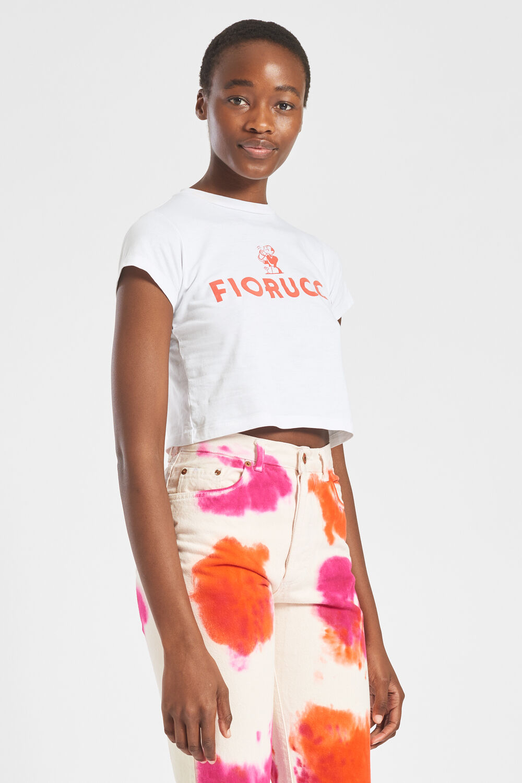 Fiorucci Cocktail Logo Crop T-Shirt White