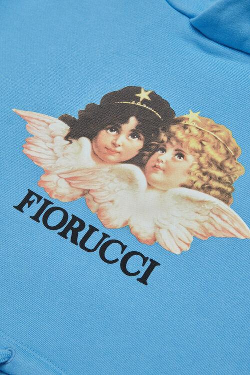 Vintage Angels Crop Hoodie Blue