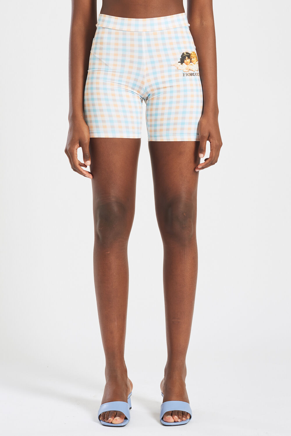 Angels Pastel Gingham Cycling Shorts Blue