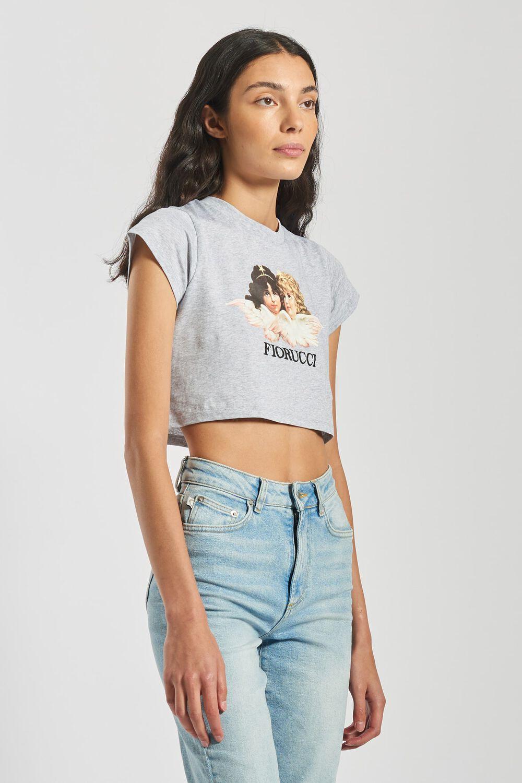 Angels Crop T-Shirt Light Grey