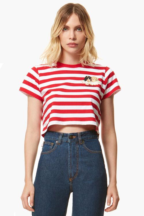 Stripe Crop Angels T-Shirt