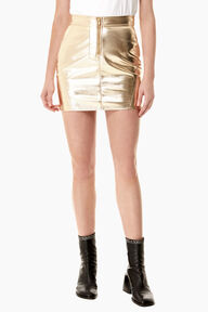 Zip Mini Skirt Vinyl Gold