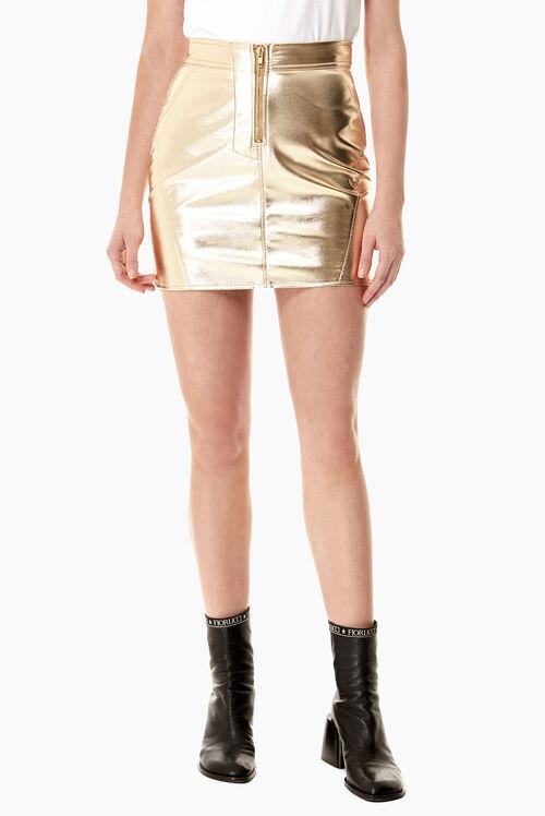 Zip Mini Skirt Vinyl Gold