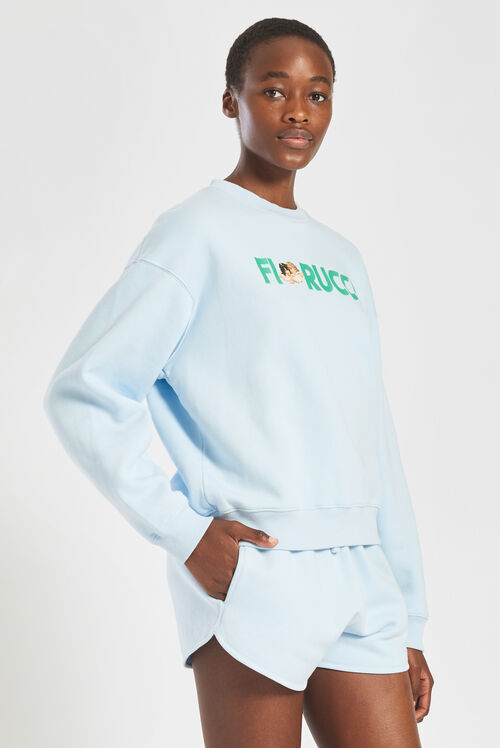 Embroidered Logo Angels Sweatshirt Pale Blue