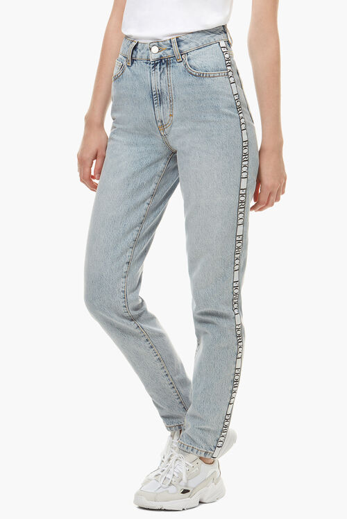 Tara Side Tape Tapered Jeans Blue