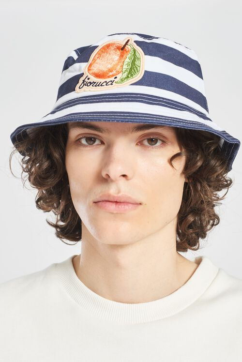 La Pesca Peach Logo Stripe Bucket Hat Blue