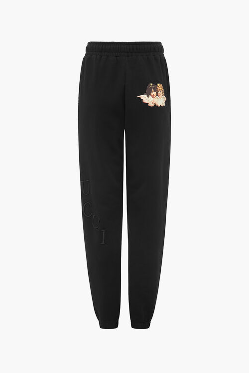 Embroidered Logo Angel Jogger Black