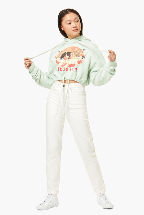 Lunar Capsule Crop Angels Hoodie Mint Green