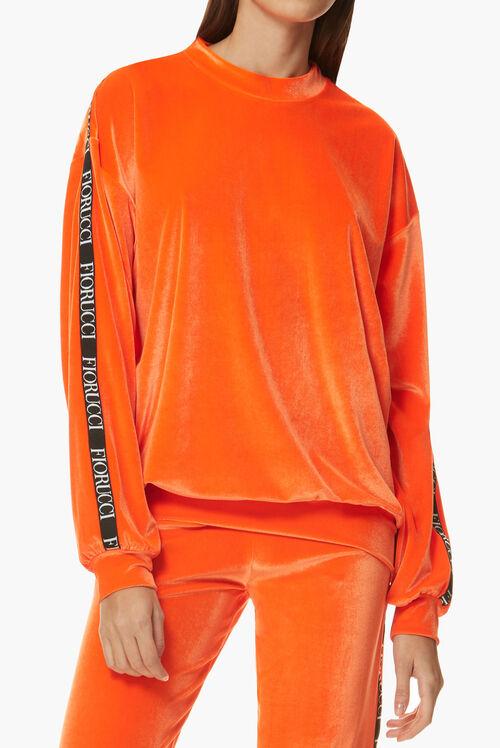 Neon Velour Top Orange