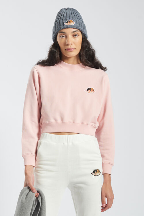 Angels Icon Crop Sweatshirt Pale Pink
