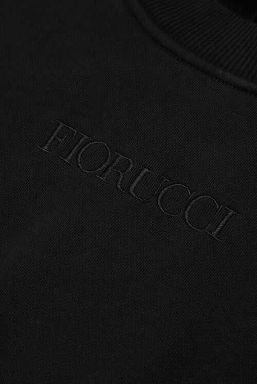 Embroidered Logo Boxy Crop Sweatshirt Black
