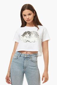 Black & White Crop Angels T-Shirt